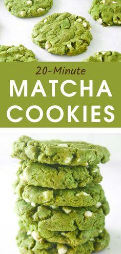 Vegan White Chocolate, White Chocolate Recipes, Chocolate Cookie Recipes, Vegan Cookie Recipe, Vegan Snacks, Vegan Recipes, Cooking Recipes, Matcha Cookies, Matcha Dessert