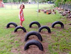 A huge collection of ideas and inspiration for reusing tyres in outdoor play creatively & safely. Save money on outdoor play equipment by upcycling! Project & safety tips included for early childhood educators and teachers. Outdoor Play Spaces, Kids Outdoor Play, Kids Play Area, Backyard For Kids, Backyard Toys, Backyard Play Areas, Eyfs Outdoor Area, Indoor Play, Outdoor Fun