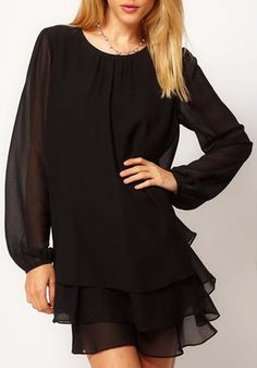 Black Cascading Ruffle Long Sleeve Chiffon Dress