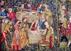 Woven in Belgium History: The Hunt: Amour Eternelle is a jacquard wall tapestry made in Belgium. This tapestry shows a group of noblemen and hunters in pursuit. Medieval Tapestry, Medieval Art, Medieval Books, History Of Wine, Art History, Ancient History, Medieval Peasant, Unicorn Tapestries, Art Textile