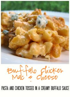 Buffalo Chicken Mac and Cheese - pasta and chicken tossed in a creamy homemade buffalo cream sauce and baked to perfection. Crazy good!! You can leave out the bleu cheese if you don't like it.