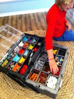 Use a tool chest as portable lego organizer. The removable containers make it easy to clean and sort. http://hative.com/creative-lego-storage-ideas/