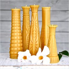 Milk Glass Vase Collection: Beeswax Candles. $79.00, via Etsy.