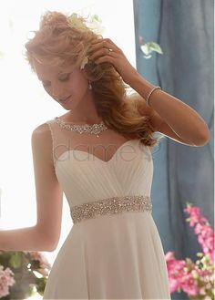 Perlen Strand Empire Chiffon bodenlanges rückenfreies klassisches & zeitloses Brautkleider
