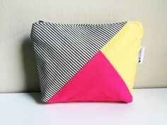 Striped Canvas Color Block Cosmetic Makeup Bag, Canvas Zipper Pouch, Fuchsia Pink Yellow Makeup Case, Cosmetic Case, Canvas Pouch