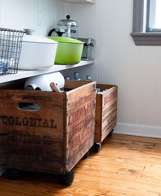 LOVE The old crate with wheels. Marykay should keep an eye out for me for some of these.