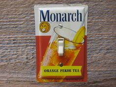 Mid Century Kitchen Decor Lighting Switch Plate Made From Vintage Monarch Tea Tin by tincansally