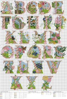 Cross stitch / Point de croix / Punto de cruz / Punto croce - alphabet / abécédaire / abecedario / alfabeto - Flowers by Le Bonheur Des Dames