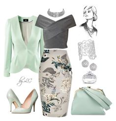 Grey and Mint by explorer-14541556185 on Polyvore featuring Miss Selfridge, River Island, Kate Spade, Tammy & Benjamin, Kobelli, Fallon, Bling Jewelry and H&M