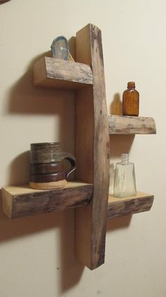 rustic shelves Man we can make this for your Men's Town, Bob. Maybe the shelf's could be a little longer but we have plenty of the wood. Rustic Shelves, Wall Shelves, Wood Shelf, Wooden Shelves, Display Shelves, Wood Projects, Woodworking Projects, Deco Originale, Into The Woods