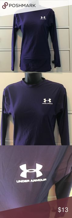 Under armour purple T-shirt This T-shirt is super nice! The material is very similar to spandex and it is so perfect to layer and wear when exercising! It is a super pretty deep purple color and it is in perfect condition! I have next day shipping on almost every order! Make me offers and ask me questions! Under Armour Tops Tees - Long Sleeve