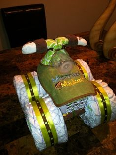 boy baby showers, baby boys, diaper cakes, 4 wheelers, baby shower gifts