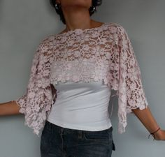 Cotton Candy Pink Cotton Lace Top Bolero Capelet by mammamiaeme, $39.00