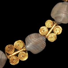 Sumerian Necklace and Ring, 2nd Millennium BC  A very rare set, made of gold and sedimentary stone beads.