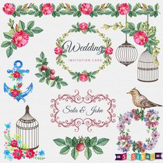 Floral Wedding Save the Date Ornaments Design Elements Digital ClipArt cards Invitation WS436 Buy 1 Get 1 Free INSTANT DOWNLOAD by SasiyaDesigns on Etsy