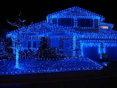 always wanted to do all blue lights.  Reminds me of a chapel that was covered in blue lights as a child at Randolph AFB.  I wonder if they still do that.