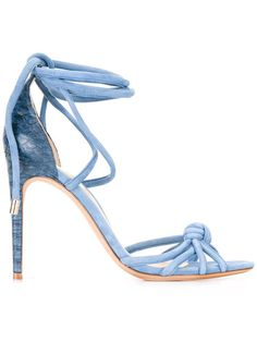 Alexandre Birman Layla Sandals In Light Blue White Strappy Sandals, Ankle Wrap Sandals, Leather Sandals, Shoes Sandals, Alexandre Birman, Crazy Shoes, New Shoes, Designer Sandals, Blue Shoes