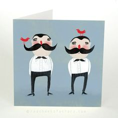 prachtige illustratie: Moustache Twins by Red Cheeks Factory