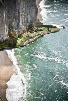 Rugged cliffs of Normandy, France