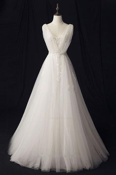 On Sale Beautiful Wedding Dresses 2018 Embroidered V-neck A-line Floor Length Ivory Tulle Wedding Dresses V Neck Wedding Dress, Applique Wedding Dress, Perfect Wedding Dress, Tulle Wedding, Cheap Wedding Dress, Ivory Wedding, Ivory Prom Dresses, Wedding Dresses 2018, Cheap Prom Dresses