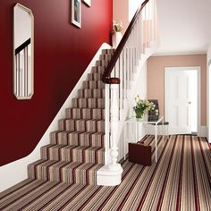 Cheap Carpet Runners For Hall Info: 7303060175 Hallway Colours, Red Walls, Hallway Decorating, Striped Carpets, Interior Floor, Painted Stairs, Carpet Stairs, Stairs, Red Rooms