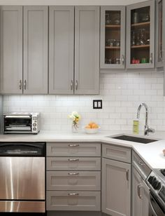 repainted existing cabinets grey
