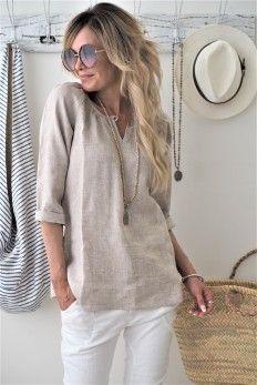 AIDA Linen blouse, BEIGE MELANGE