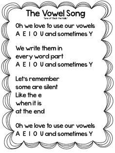 Growing Firsties: Oprah (part & Vowel Song Freebie Kindergarten Songs, Preschool Songs, Phonics Activities, Kindergarten Reading, Kids Songs, Teaching Reading, Reading Tutoring, Fun Songs, Reading Fluency