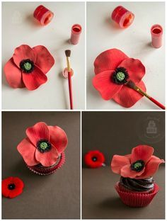 Poppy Cupcakes - a tutorial for making edible poppy cupcake toppers for Remembrance Day.