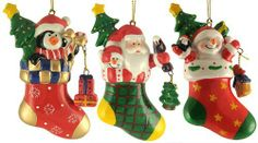 3 Christmas Ornaments by Gordon Companies, Inc. $25.50. Brand Name: Gordon Companies, Inc Mfg#: 30720790. Picture may wrongfully represent. Please read title and description thoroughly.. Shipping Weight: 0.75 lbs. This product may be prohibited inbound shipment to your destination.. Please refer to SKU# ATR25777797 when you inquire.. 3 Christmas ornaments/stockings/fully dimensional/4''H/made of resin with porcelain glaze/comes with hanger