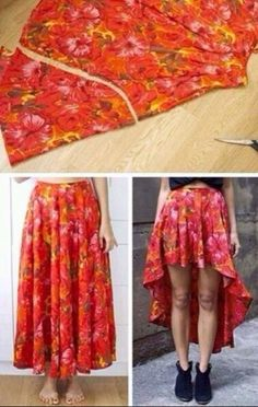 Turn long skirts into one with a exposed front