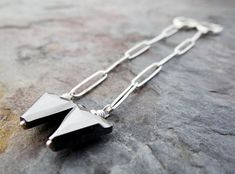 Silver Hoops, Paper Clip, Swarovski Crystals, Arrow Necklace, Dangles, Lost, Sterling Silver, Chain, Metal