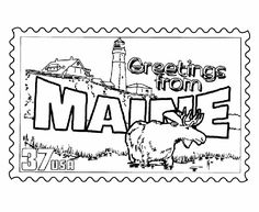Maine State Stamp Coloring Page