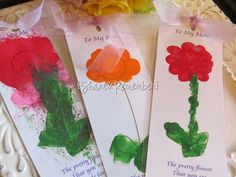 poem and handprint flower bookmark/card for Mother's Day   Download poem, paint, sign then laminate.  Put ribbon on top