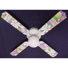 Ceiling Fan Designers 42 in. Peace Love Happy Face 60's Flowers Indoor Ceiling Fan - 42FAN-KIDS-PLHF