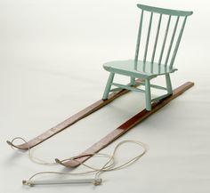 upcycle duurzaam hergebruik slee stoel ski's