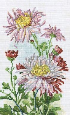 pink chrysanthemum in cross stitch Cute Cross Stitch, Cross Stitch Bird, Cross Stitch Flowers, Cross Stitch Charts, Cross Stitch Designs, Cross Stitching, Cross Stitch Embroidery, Cross Stitch Patterns, Rosa Shabby Chic
