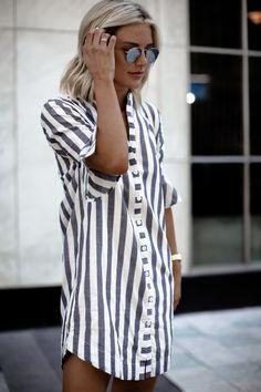 summer outfits Striped Shirt Dress
