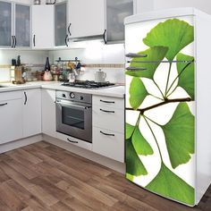 What a fun  interesting idea!  Decals for fridge and dishwasher.  What a great way to liven up old appliances!  Cool!