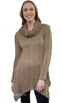 Tegan Ladies Cowl Neck Cable Knit Sweater Shirt Dress In Brown Vintage Inspired Outfits, Vintage Outfits, Pretty Angel Clothing, Sweater Shirt, Shirt Dress, Shirt Extender, Angel Dress, Cable Knit Sweaters, Autumn Fashion