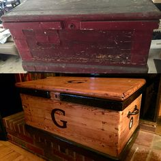 Before and after.Refinished Trunk. DIY