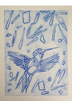 Bird collagraph created by cutting into bambridge board and using the cut out bits in the