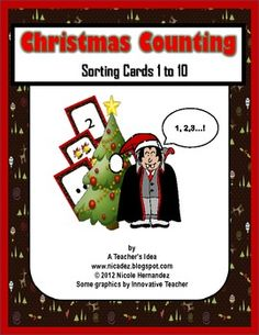 Christmas Counting Sorting Cards 1 to 10 for Pre-K to Kind