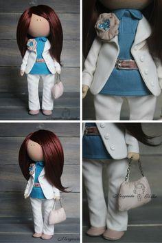 Soft doll handmade white brunette blue Baby by AnnKirillartPlace