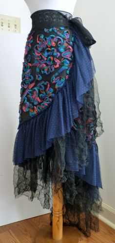 Black Navy Blue Dot Tulle Embroidered Ribbon Wrap Long Ruffled Skirt, Steampunk, Boho, Bohemian, Gypsy, Renaissance, Belly Dance, Halloween