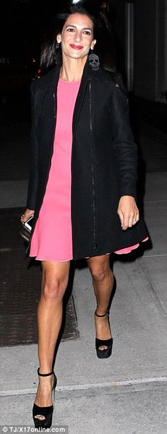Night on the town: Tala looked stylish in pink as she headed out for dinner on Thursday ni...