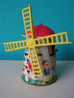 Vintage Lithographic Tin Toy  Windmill Money Bank 1960s