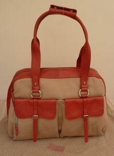 """Radley Red Leather and Canvas Holdall/Travel Bag - """"Grosvenor"""" - RRP £329 BNWT 