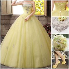 Adorable Yellow Beading Strapless Quinceanera Dress