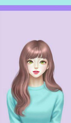 Wall Paper Fofos Femininos Fundo Roxo Ideas For 2019 Korean Illustration, Illustration Girl, Love Cartoon Couple, Girl Cartoon, Cute Girl Drawing, Cute Drawings, Anime Korea, Wallpaper Fofos, Lovely Girl Image